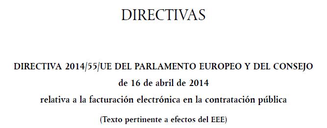 Directiva 2014-55-UE Factura Electronica Europa AAPP-1